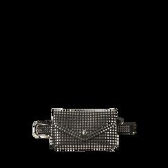 Marsupio nero in eco-pelle con borchie, Primadonna, 144001037EPNEROUNI, 001a