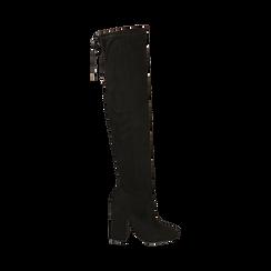 Overnkee neri in microfibra, tacco 10 cm , Stivali, 142179696MFNERO035, 001 preview