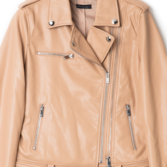 Biker jacket nude in eco-pelle, Primadonna, 136500779EPNUDEL, 002 preview