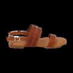 Sandali flat cuoio in eco-pelle intrecciata, Primadonna, 133600111EICUOI036, 001 preview