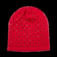 Berretto invernale rosso in tessuto con strass, Saldi Abbigliamento, 12B490741TSROSSUNI, 001a