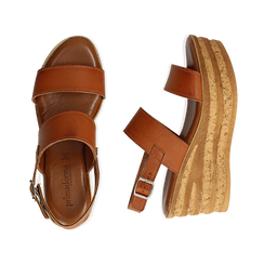 Sandali platform cuoio in eco-pelle, zeppa 8 cm , Saldi, 13A133255EPCUOI036, 003 preview
