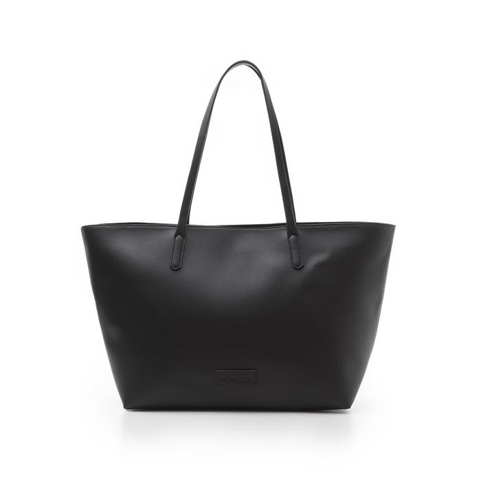 Maxi-bag nera in eco-pelle con manici in tinta, Borse, 133783134EPNEROUNI