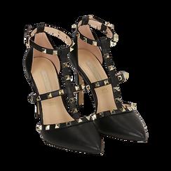 Décolleté en eco-piel color negro con tachas, tacón 10,50 cm, Primadonna, 152146820EPNERO039, 002 preview