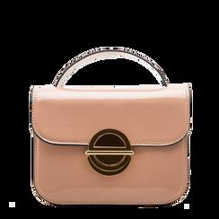 Borsa a tracolla rosa nude in ecopelle vernice, Borse, 122408030VENUDEUNI, 001a