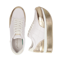Sneakers bianche in eco-pelle con platform oro, Scarpe, 130751703EPBIOR037, 003 preview