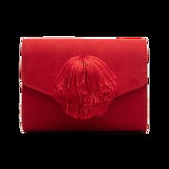 Pochette rossa scamosciata con pon-pon, Saldi Borse, 123369415MFROSSUNI, 001 preview