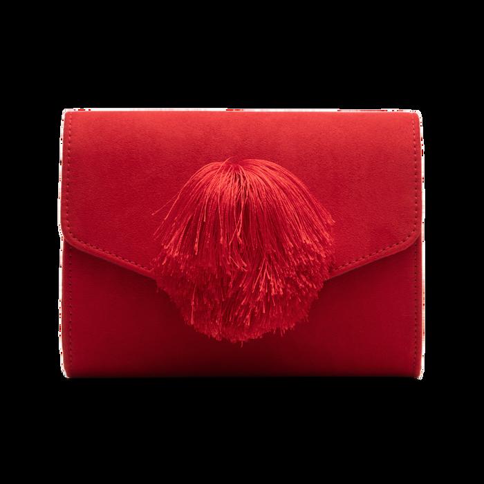 Pochette rossa scamosciata con pon-pon, Saldi Borse, 123369415MFROSSUNI