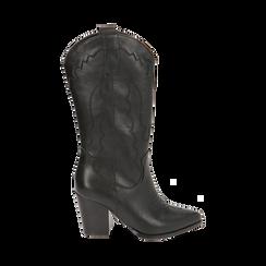 Santiags noirs, talon 8,5 cm, CHAUSSURES, 170581021EPNERO037, 001 preview