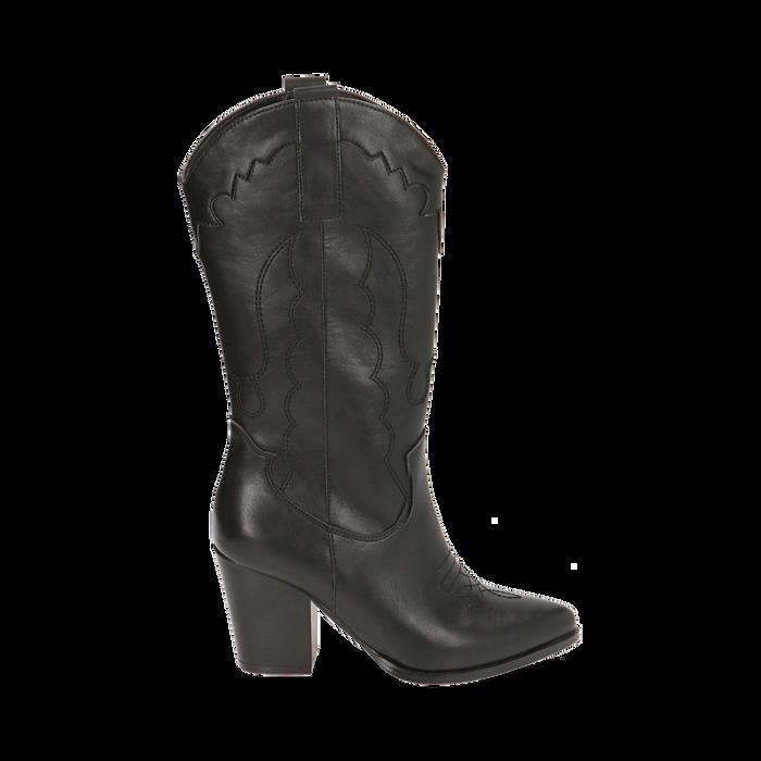Santiags noirs, talon 8,5 cm, CHAUSSURES, 170581021EPNERO037