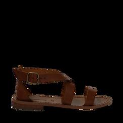 Sandali flat cuoio in pelle, Saldi Estivi, 138100112VACUOI035, 001a