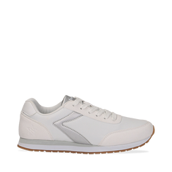 Sneakers bianche in tessuto, design aerodinamico, Scarpe, 132619024TSBIAN035, 001a