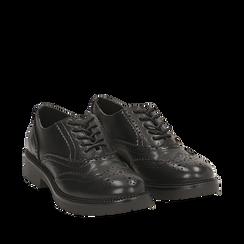 Stringate nere in eco-pelle con lavorazione Duilio, Scarpe, 140585751EPNERO035, 002a