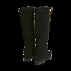 Stivali neri in camoscio con decoro metallico, Primadonna, 16A500090CMNERO036, 003 preview
