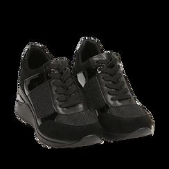 Sneakers nere glitter, zeppa 6 cm , Primadonna, 162801945GLNERO039, 002a