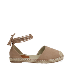 Espadrillas lace-up beige in microfibra, Chaussures, 154933051MFBEIG035, 001a