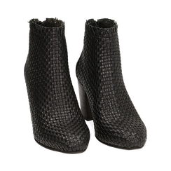 Ankle boots neri in pelle intrecciata, tacco 7,50 cm, Primadonna, 15C515018PINERO036, 002 preview
