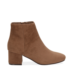 Ankle boots taupe in microfibra, tacco 5,5 cm , Stivaletti, 142708211MFTAUP035, 001a