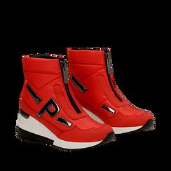 Sneakers a calza rosse in tessuto tecnico, zeppa 6 cm , Scarpe, 14A718203TSROSS036, 002a