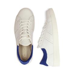 Sneakers bianche in vera pelle e dettaglio blu in camoscio, Scarpe, 131611783PEBIBL036, 003 preview