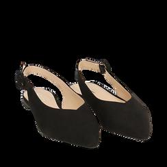 Slingback plats en microfibre noir, Chaussures, 154918652MFNERO035, 002a