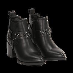 Camperos neri in eco-pelle con borchie, tacco 6,5 cm , Stivaletti, 143020502EPNERO035, 002a