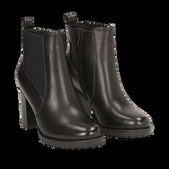 Chelsea boots neri in eco-pelle, tacco 8,5 cm , Scarpe, 143066110EPNERO035, 002a