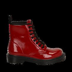 Anfibi rossi in vernice, Scarpe, 142801501VEROSS036, 001a