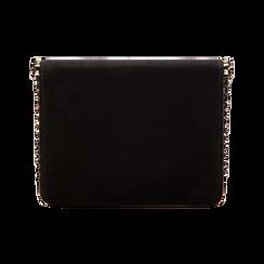 Pochette con tracolla nera in microfibra scamosciata, profili mini-borchie, Primadonna, 123308852MFNEROUNI, 002 preview