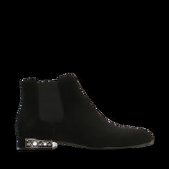 Chelsea Boots neri scamosciati, tacco basso scintillante, Primadonna, 124911285MFNERO036, 001a