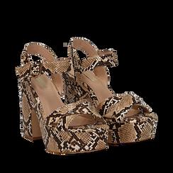 Sandali con plateau beige in eco-pelle, effetto snake skin, tacco 11 cm , Scarpe, 134903269PTBEIG035, 002a