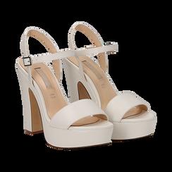 Sandali con plateau bianchi in eco-pelle, tacco 13 cm , Sandali con tacco, 138404164EPBIAN035, 002 preview