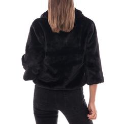 Pelliccia corta nera in eco-fur, Abbigliamento, 14B443008FUNERO3XL, 002a
