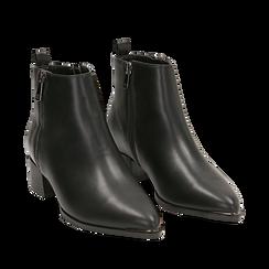 Camperos neri in eco-pelle , tacco 4,5 cm , Stivaletti, 144820534EPNERO035, 002a