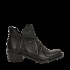 Camperos neri in vera pelle con elastici, tacco 4,5 cm, Scarpe, 131612461PENERO036, 001a