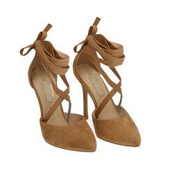 Escarpins à lacets cognac en microfibre, 11 cm, Chaussures, 172168652MFCOGN036, 002 preview