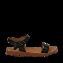 Sandali flat neri in eco-pelle, Primadonna, 112200341EPNERO036, 001a