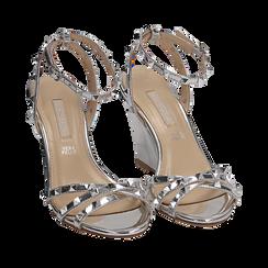 Sandalias efecto espejo color plateado, cuña 9 cm , Zapatos, 152154429SPARGE036, 002a