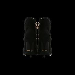 Tronchetti neri scamosciati, tacco stiletto 10,5 cm, Scarpe, 124895652MFNERO, 003 preview