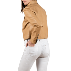 Veste courte beige en simili-cuir, Vêtements, 156516138EPBEIGM, 002 preview