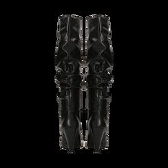 Stivali neri gambale drappeggiato, tacco a cono 10 cm, Scarpe, 124911206EPNERO, 003 preview