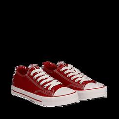 Sneakers rosse in canvas, Scarpe, 137300862CAROSS036, 002a