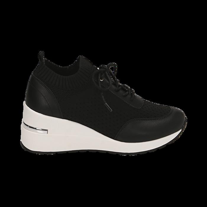 Sneakers nere in tessuto, Primadonna, 157516567TSNERO037