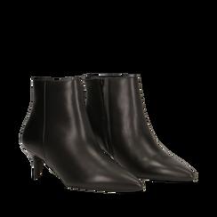 Tronchetti neri in vera pelle, tacco a rocchetto 6 cm, Primadonna, 12D618402VINERO040, 002a