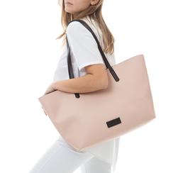 Maxi-bag rosa in eco-pelle con manici neri, Borse, 133783134EPROSAUNI, 002a