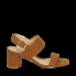 Sandali marroni in microfibra con doppia fascia, tacco 7 cm , Scarpe, 132182481MFMARR035, 001a