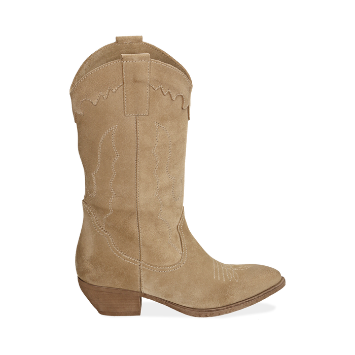 Camperos taupe in camoscio, tacco 4 cm, Scarpe, 157732902CMTAUP036