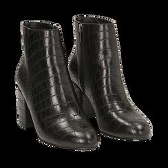 Ankle boots neri stampa cocco, tacco 7,5 cm , Stivaletti, 142762715CCNERO035, 002a