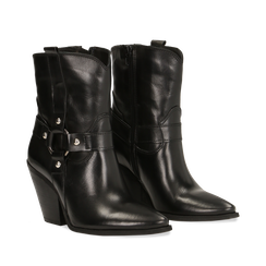 WOMEN SHOES DEMI-BOOT COW-LEATHER NERO, Primadonna, 128900500VINERO036, 002a