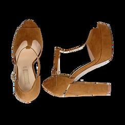 Décolleté open-toe marroni in microfibra con plateau, tacco 12,50 cm, Primadonna, 138410124MFMARR035, 003 preview